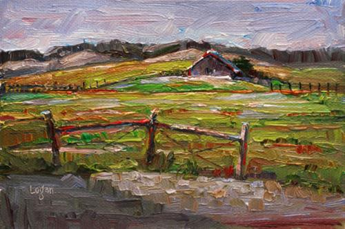 """Another SLO Barn"" original fine art by Raymond Logan"
