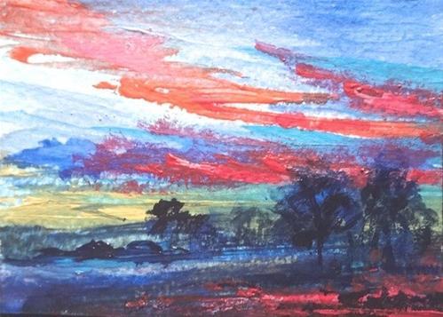 """4052 - DRAMATIC SUNSET - ACEO Series"" original fine art by Sea Dean"