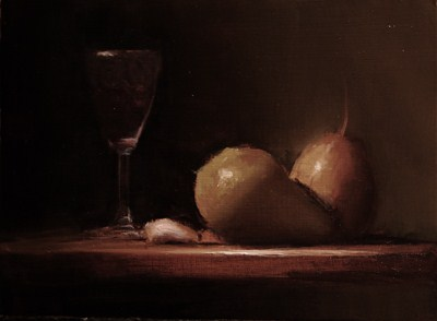 """Pears with Glass of Wine - study"" original fine art by Neil Carroll"