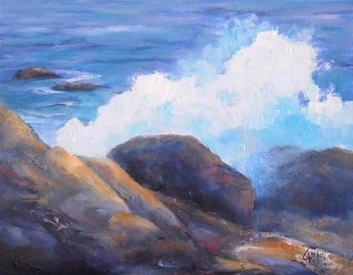 """Big Splash, 8x10 Oil on Canvas Panel, Beach Art"" original fine art by Carmen Beecher"