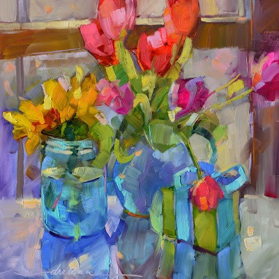 """""""Color Your Day With Happiness"""" original fine art by Dreama Tolle Perry"""