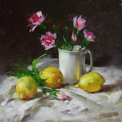 """Lemon and Carnation"" original fine art by Fongwei Liu"