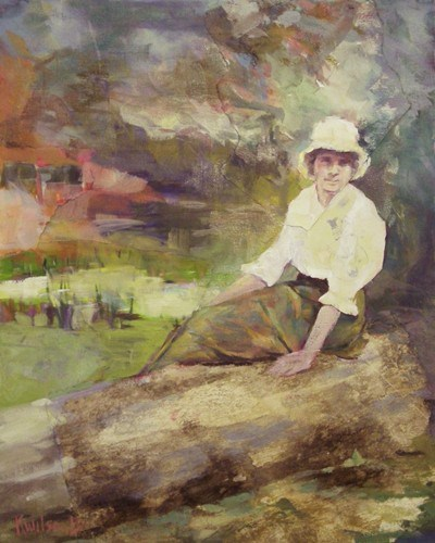 """""""Log Bench/Sitting on Rock"""" original fine art by Katie Wilson"""