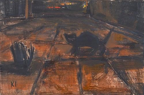 """Night Cat"" original fine art by Kevin Inman"