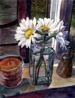 """""""Watercolor: Study for Daisy Trio"""" original fine art by Belinda Del Pesco"""