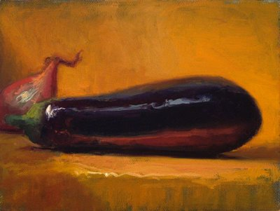 """Eggplant and Shallot"" original fine art by Abbey Ryan"