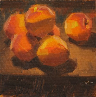 """Peach Pile"" original fine art by Carol Marine"