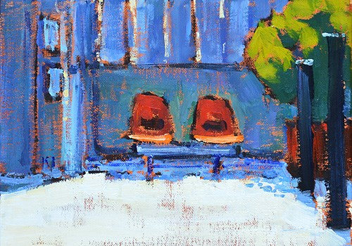 """""""Tulip Chairs Outside the Laundromat"""" original fine art by Kevin Inman"""