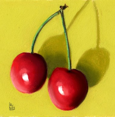 """2 cherries"" original fine art by Ria Hills"