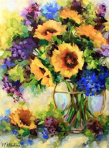 """Winter Sun Sunflowers and Larkspur by Texas Flower Artist Nancy Medina"" original fine art by Nancy Medina"