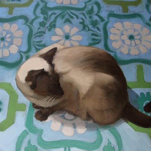 """""""Siamese Looks Back small oil painting of cat"""" original fine art by Diane Hoeptner"""