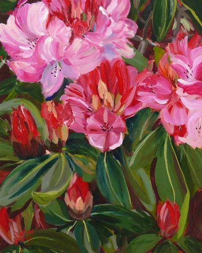 """Kinsmen Park Rododendrons"" original fine art by Darlene Young"
