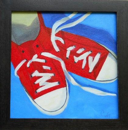 """""""Red Kicks"""" original fine art by Claire Henning"""