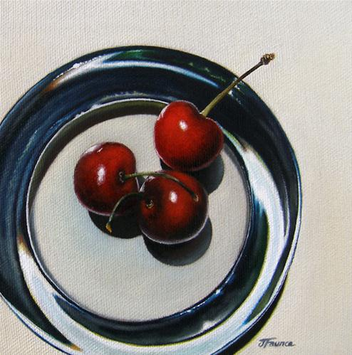"""Cherry Study: Red, White & Blue"" original fine art by Jelaine Faunce"