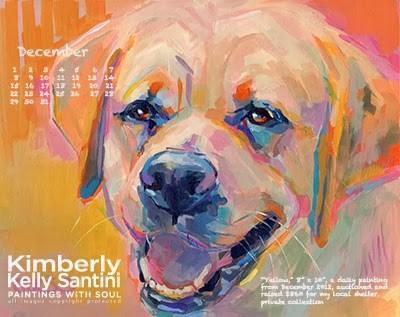 """December Desktop Calendar"" original fine art by Kimberly Santini"