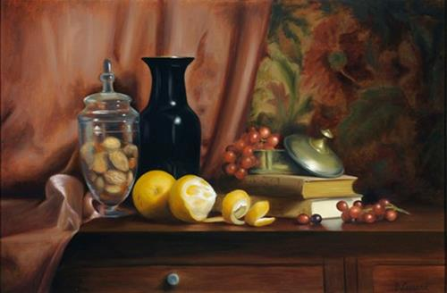"""A Peeling Series: Fruit and Nuts #902"" original fine art by Dee Lessard"