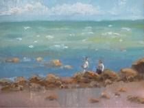 """The Irish Sea at Carne"" original fine art by Katharine Engh"