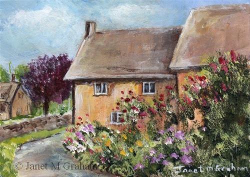 """""""Country Lane ACEO"""" original fine art by Janet Graham"""