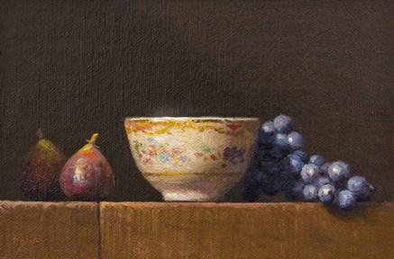 """""""Still Life with Figs, Teacup and Concord Grapes (+ the song Artist In Me)"""" original fine art by Abbey Ryan"""