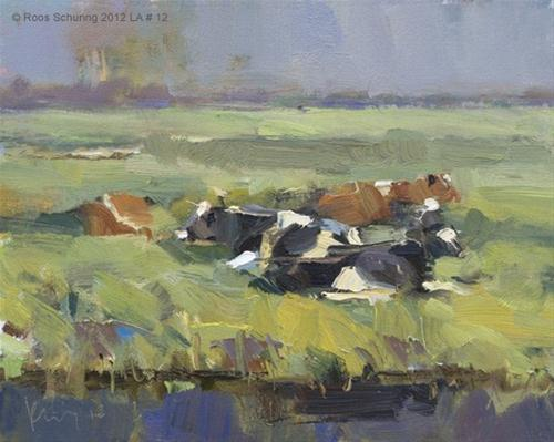 """""""Landscape autumn #12 Autumn (morning) sun and cows"""" original fine art by Roos Schuring"""