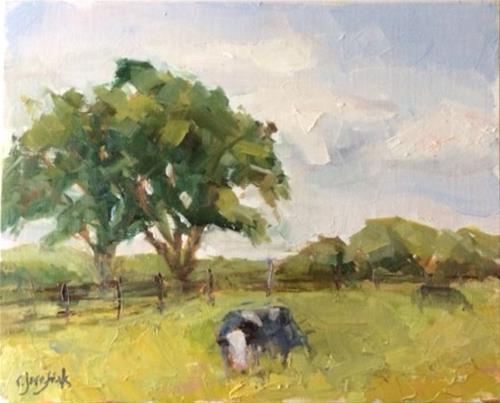 """""""Hard to Get a Cow to Pose"""" original fine art by Carol Josefiak"""