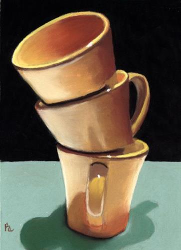 """Stacked Coffee Mugs"" original fine art by Ria Hills"