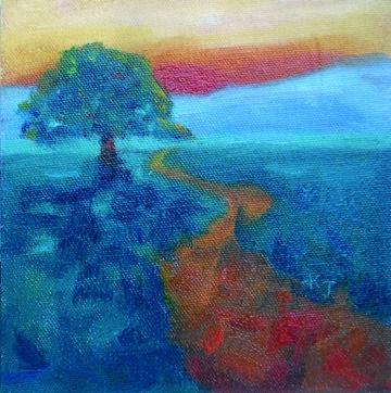 """""""#8 Lone Oak, Dusk"""" original fine art by Kathy Johnson"""