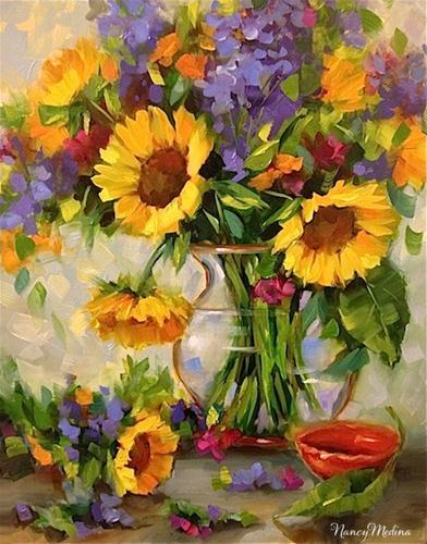 """Good Day Sunshine Sunflowers and Dallas Arboretum Blooms by Texas Artist Nancy Medina"" original fine art by Nancy Medina"