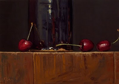 """Still Life with Cherries and Tenmoku Bottle"" original fine art by Abbey Ryan"