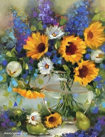 """Heat Wave Sunflowers and Three Days to Painting Brilliant Colors"" original fine art by Nancy Medina"