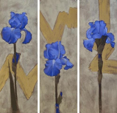 """Modern Iris III, three paintings of irises with gold"" original fine art by Diane Hoeptner"