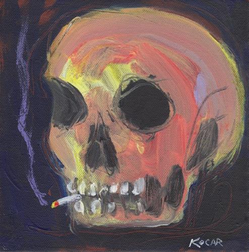 """Smokin' Skull"" original fine art by George Kocar"