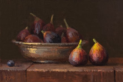 """""""Still Life with Figs and a Copper Bowl"""" original fine art by Abbey Ryan"""