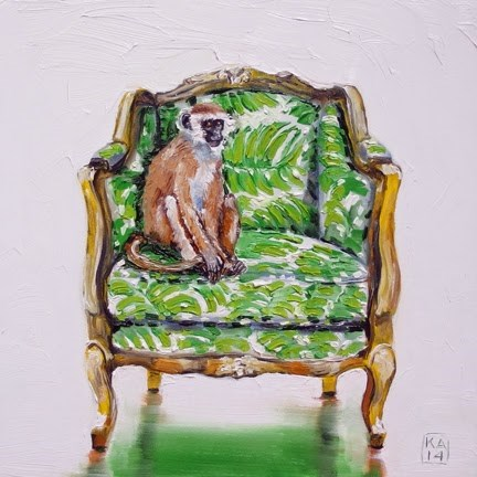 """summer monkey"" original fine art by Kimberly Applegate"