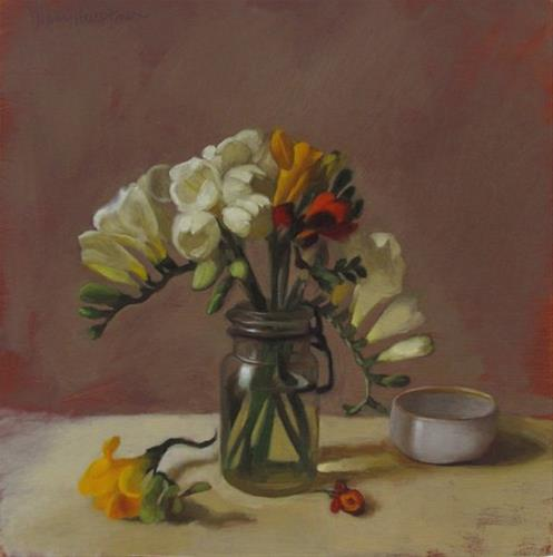 """""""Freesias and Bowl"""" original fine art by Diane Hoeptner"""