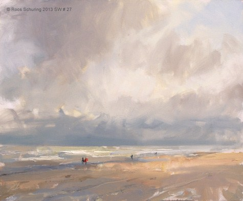 """""""Seascape winter 27 Before the snow (available) zeegezicht"""" original fine art by Roos Schuring"""