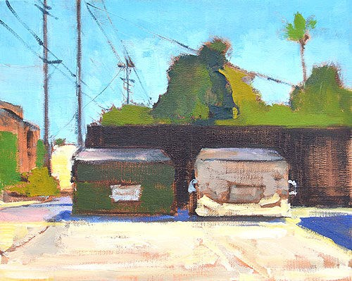 """""""Dumpsters, North Park"""" original fine art by Kevin Inman"""