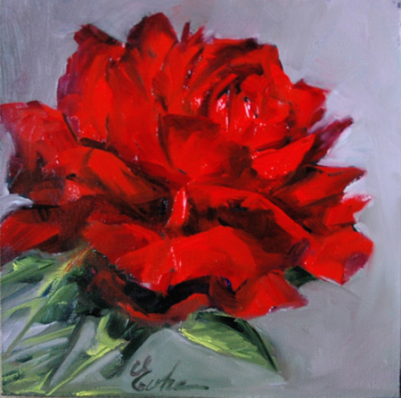 """Une rose rouge"" original fine art by Evelyne Heimburger Evhe"