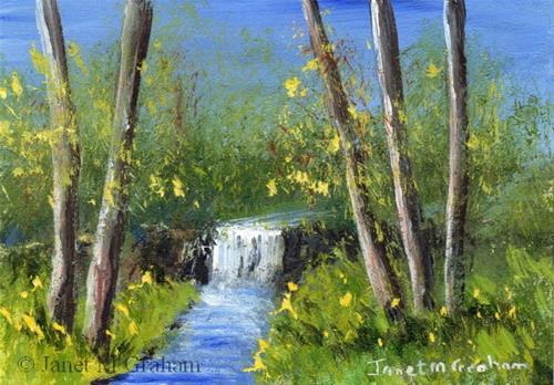 """Spring Waterfall ACEO"" original fine art by Janet Graham"