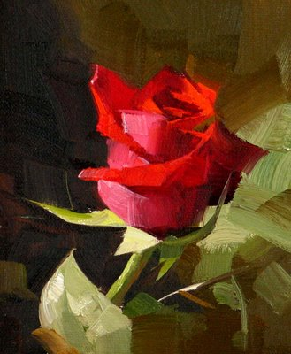 """""""Red Rose 3 --- Sold"""" original fine art by Qiang Huang"""