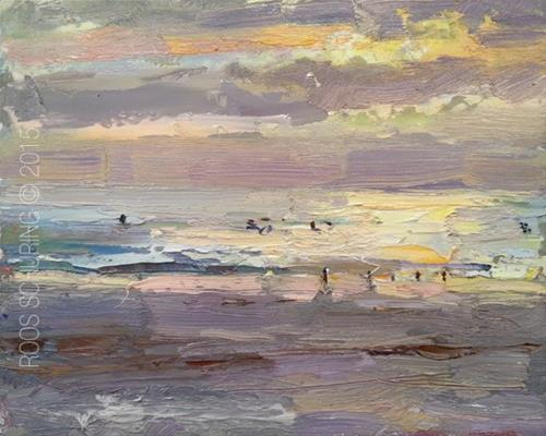 """""""Seascape Sunset and Surfers"""" original fine art by Roos Schuring"""