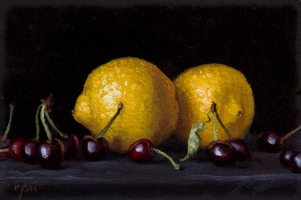 """""""Lemons and Cherries from Testaccio Market, Rome (Italy 2017 painting #2)"""" original fine art by Abbey Ryan"""
