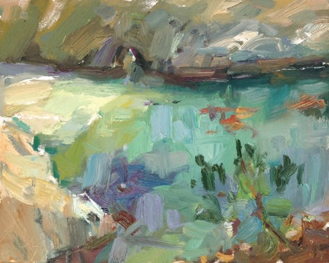 """""""Painting in California 23 China Cove (sold)"""" original fine art by Roos Schuring"""