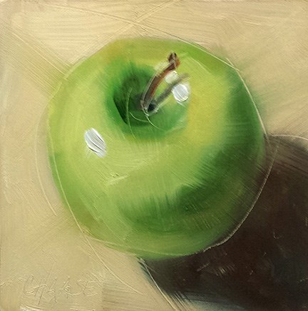 """Little Green Apple"" original fine art by Cindy Haase"