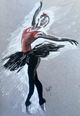 """Red Ballerina"" original fine art by Piya Samant"
