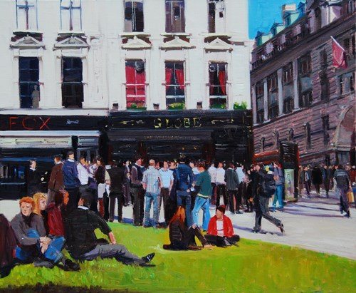 """Lunch Time, The Fox & The Globe"" original fine art by Adebanji Alade"