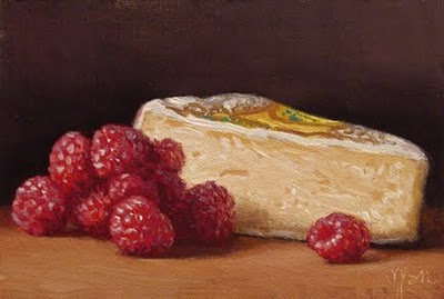 """French Camembert with Raspberries"" original fine art by Abbey Ryan"