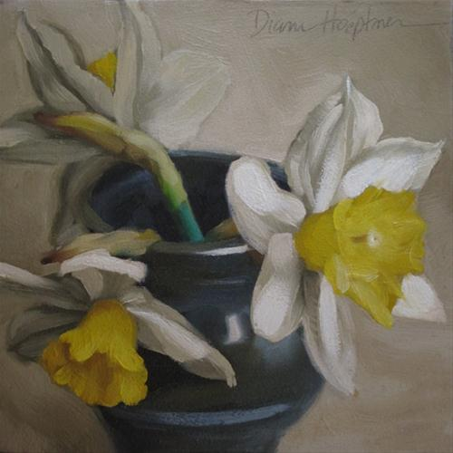 """Daffodil Trio still life painting"" original fine art by Diane Hoeptner"
