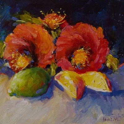 """Poppies, Lemon, and Lime"" original fine art by Alice Harpel"