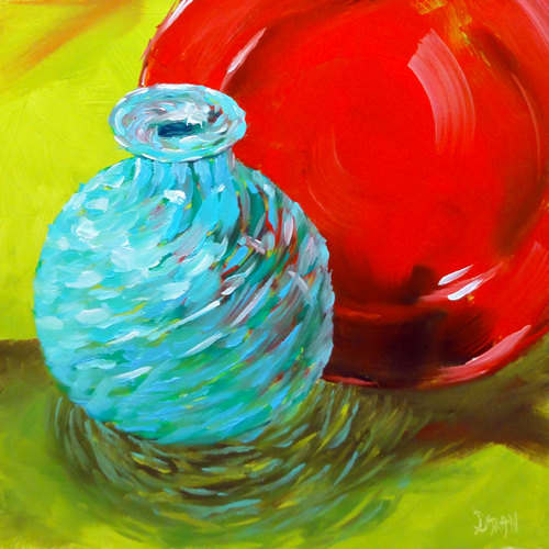 """""""Red Plate, Lime Green Fabric, And Grandma's Turquiose Vase"""" original fine art by Dalan Wells"""